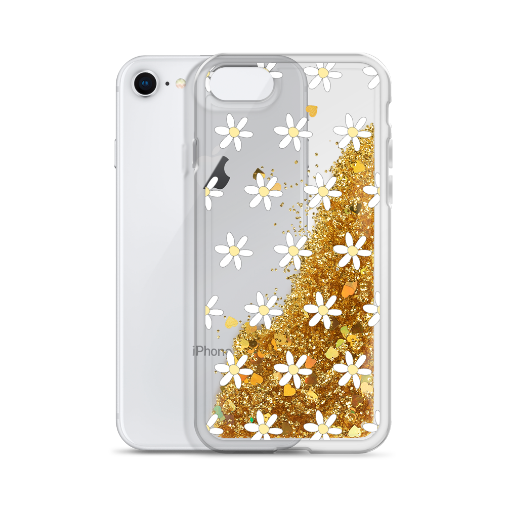 Gold Liquid Glitter Phone Case Daisies