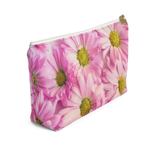 Makeup Bag Pink Daisies Small Left Side