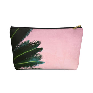 Makeup Bag Pink Palm Small Front