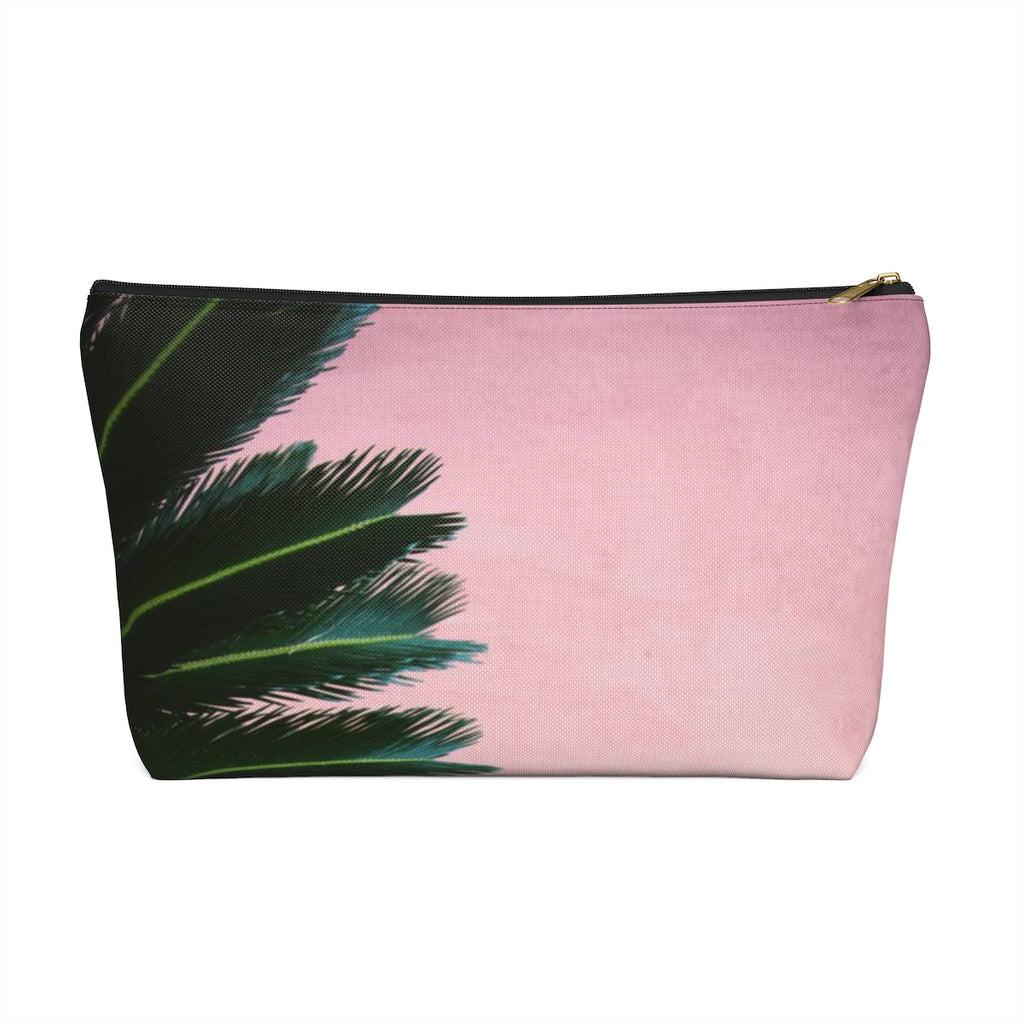 Makeup Bag Pink Palm Large Front