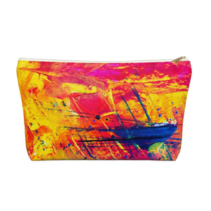 Makeup Bag Yellow, Red, and Blue Abstract Painting Large Front