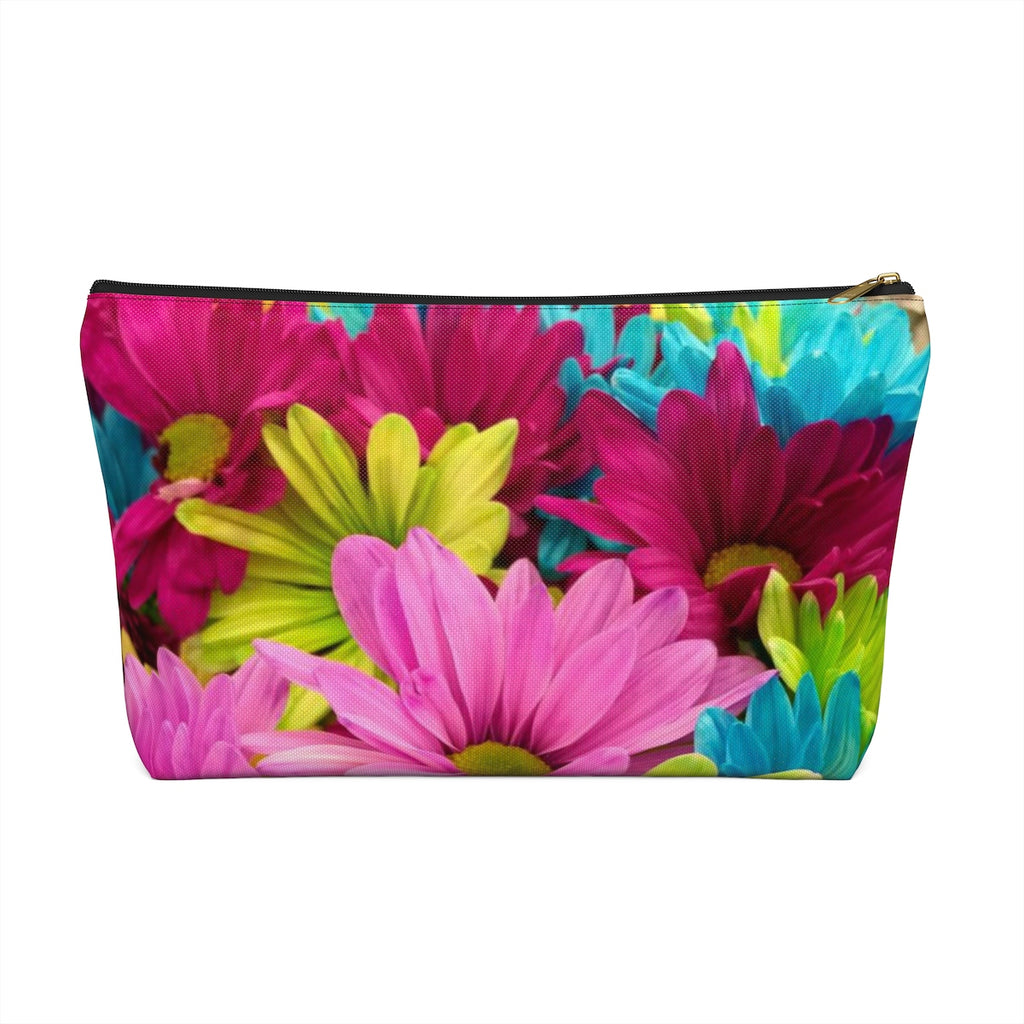 Makeup Bag Colorful Daisies Large Back