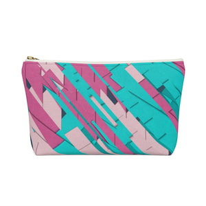 Makeup Bag Teal, Pink, and Hot Pink Small Back