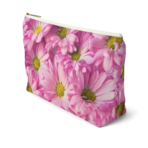 Makeup Bag Pink Daisies Large Right Side