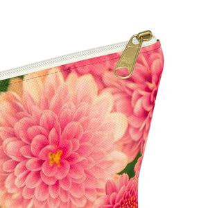 Makeup Bag Orange Flowers Small Close Up