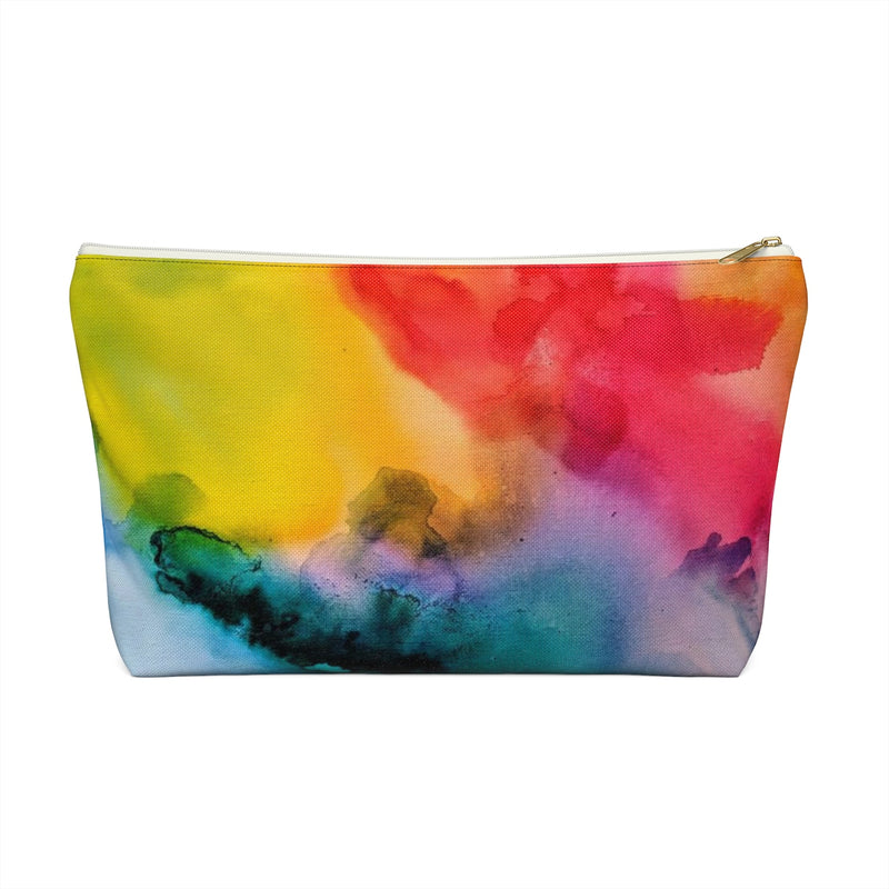Makeup Bag Rainbow Watercolor Large Close Up