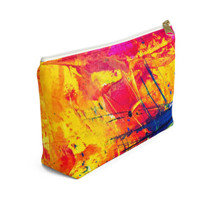 Makeup Bag Yellow, Red, and Blue Abstract Painting Small Left Side