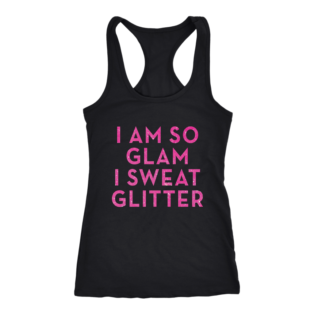 Racerback Tank I Am So Glam I Sweat Glitter in Black