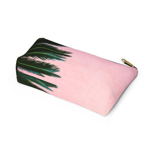 Makeup Bag Pink Palm Small Bottom