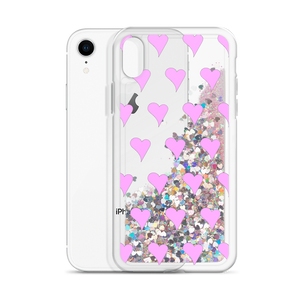 Glitter Pink Phone Case Hearts