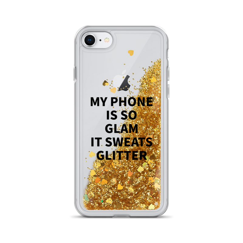 Gold Liquid Glitter iPhone Case My Phone Is So Glam It Sweats Glitter