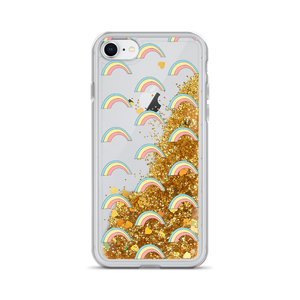Gold Liquid Glitter iPhone Case Rainbows