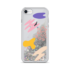 Silver Liquid Glitter iPhone Case Abstract Print