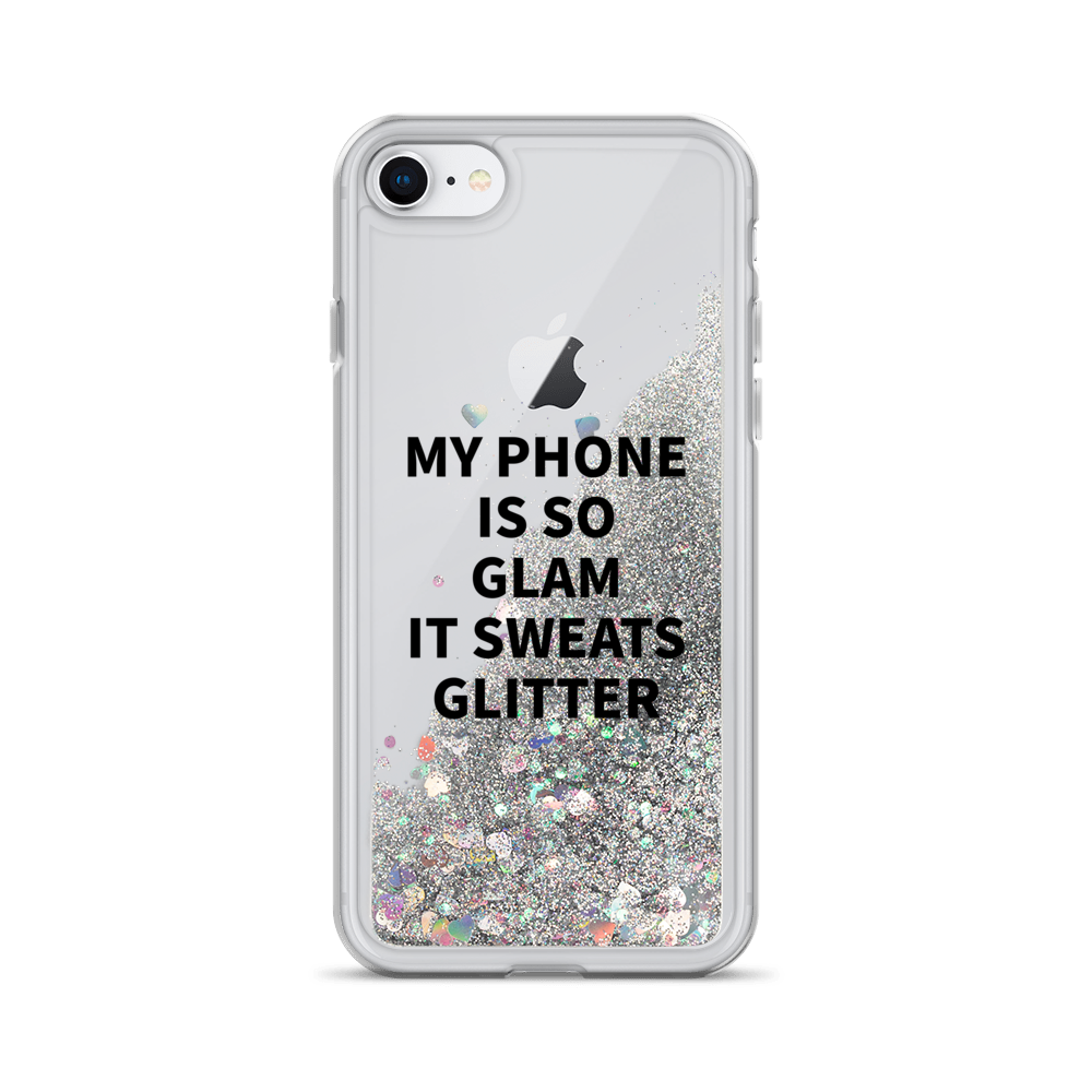Silver Liquid Glitter iPhone Case My Phone Is So Glam It Sweats Glitter