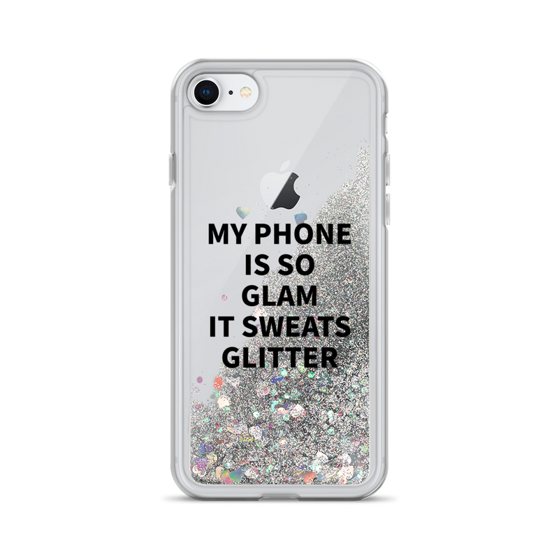 Silver Glitter iPhone Case My Phone Is So Glam It Sweats Glitter
