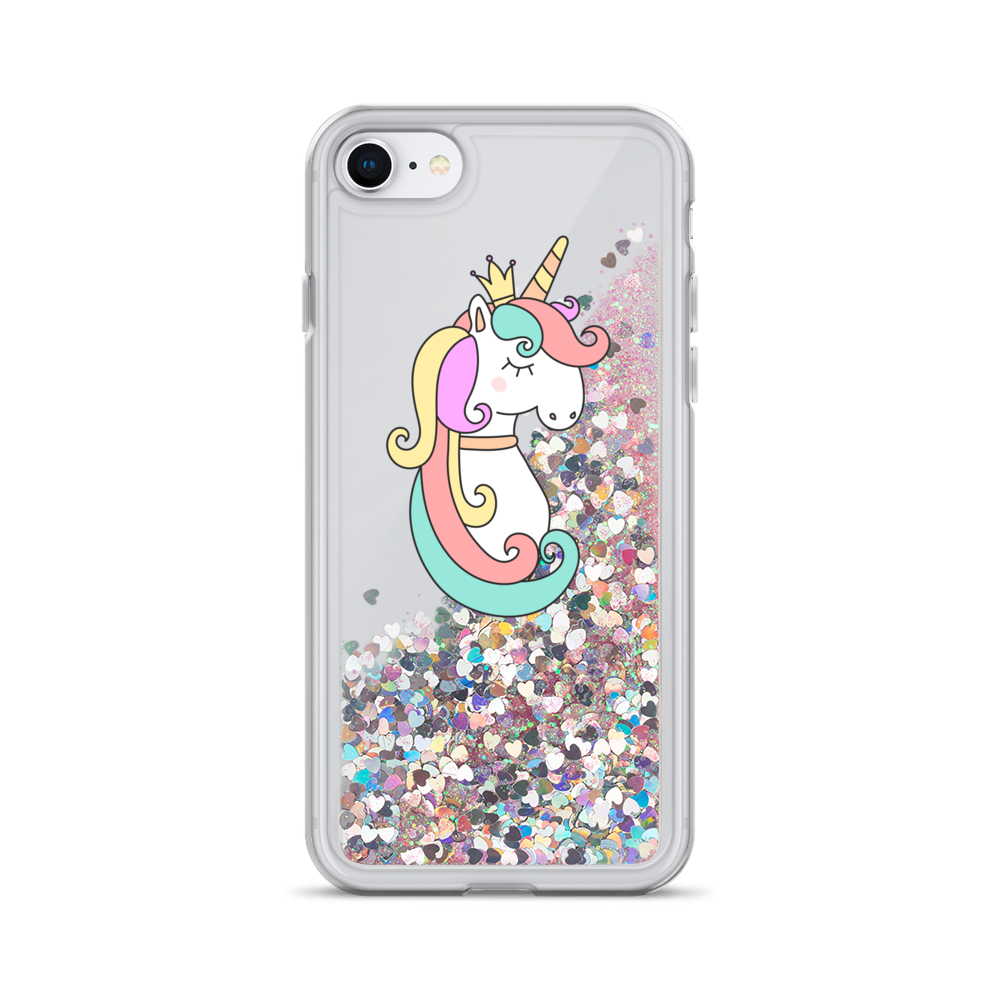Pink Liquid Glitter iPhone Case Queen Unicorn