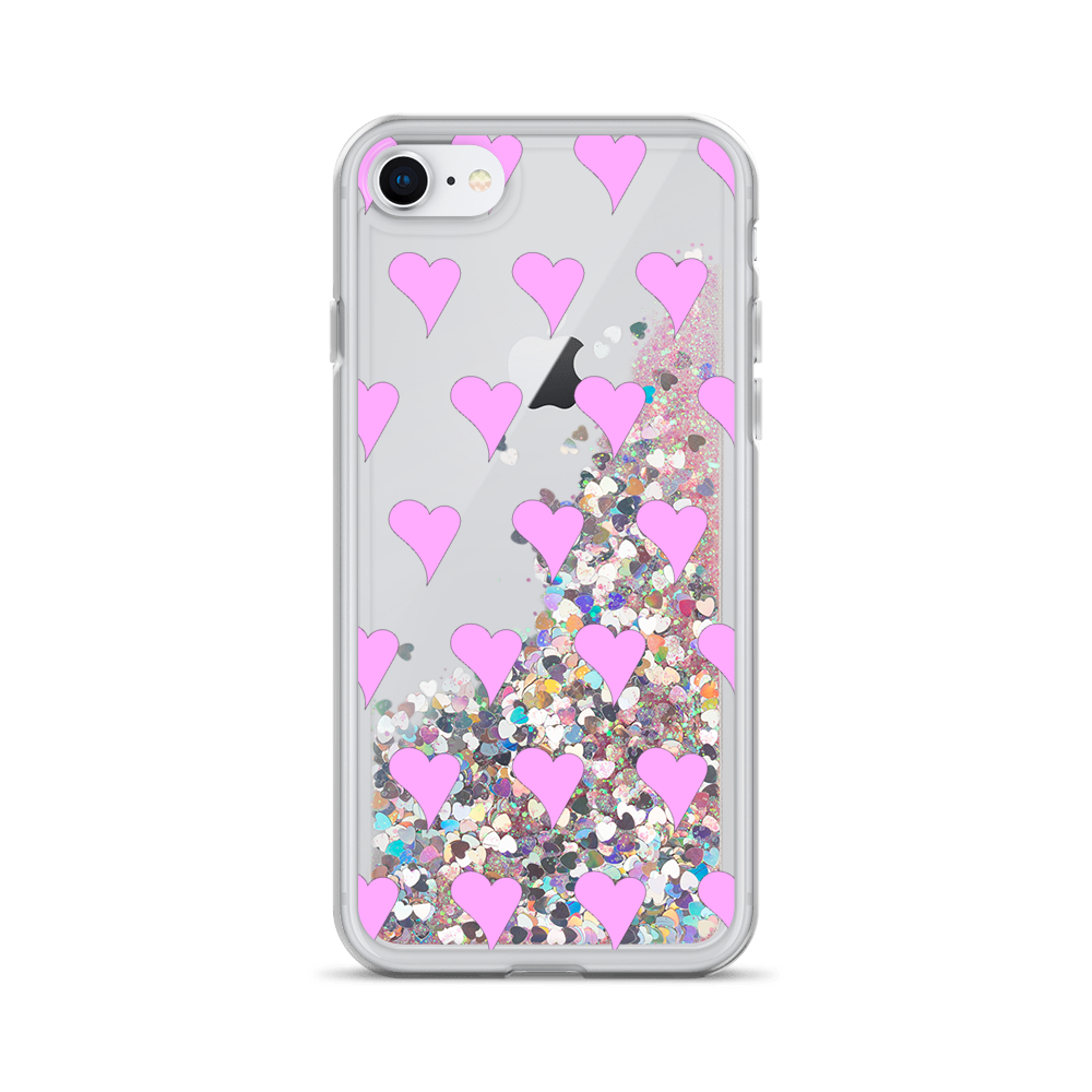 Pink Liquid Glitter iPhone Case Hearts