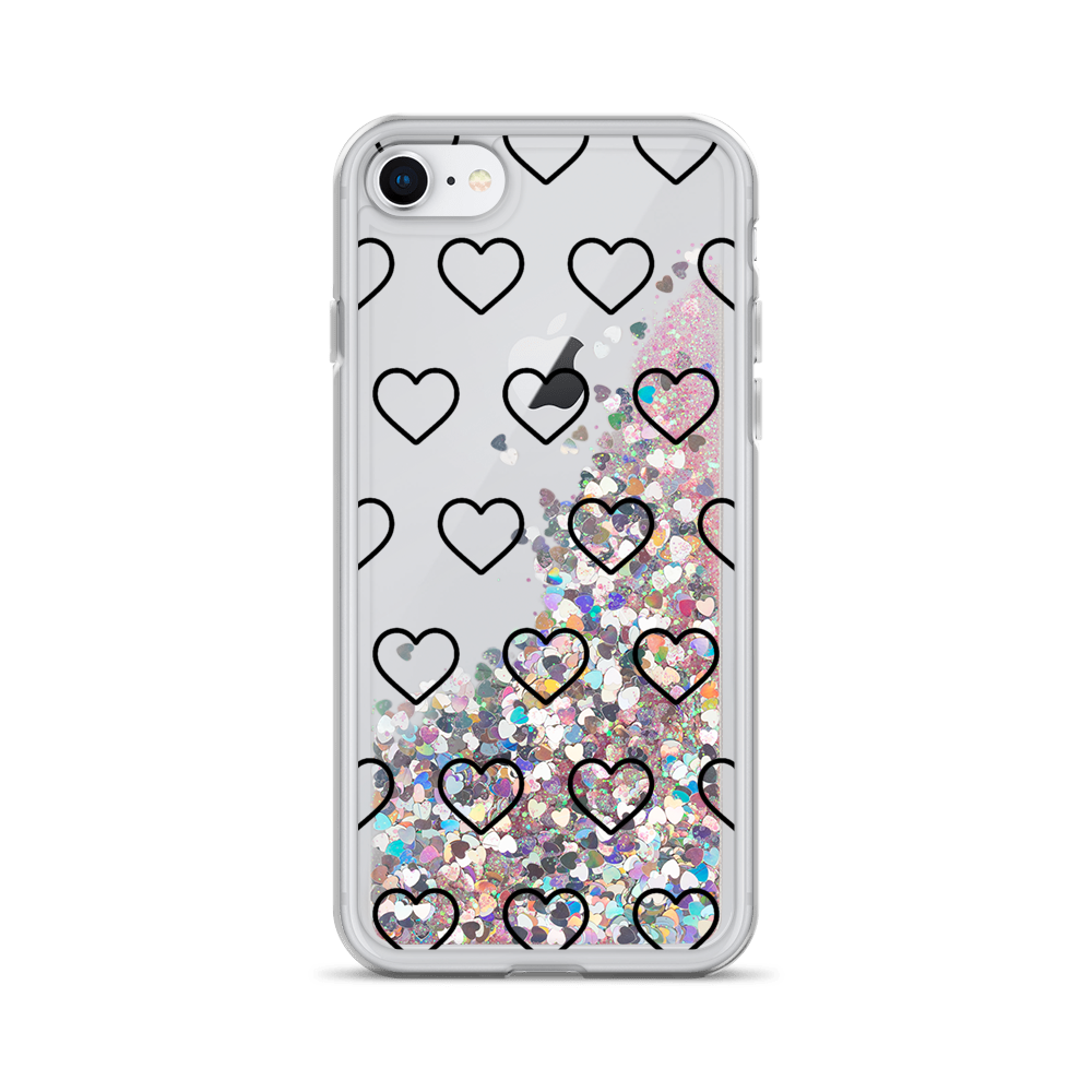 Pink Liquid Glitter iPhone Case Outlined Hearts
