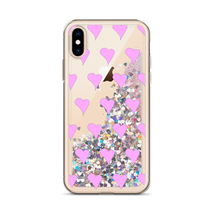 Pink Glitter iPhone Case Hearts