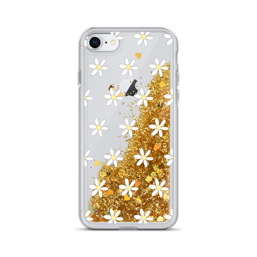 Gold Liquid Glitter iPhone Case Daisies
