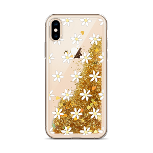 Gold Glitter iPhone Case Daisies