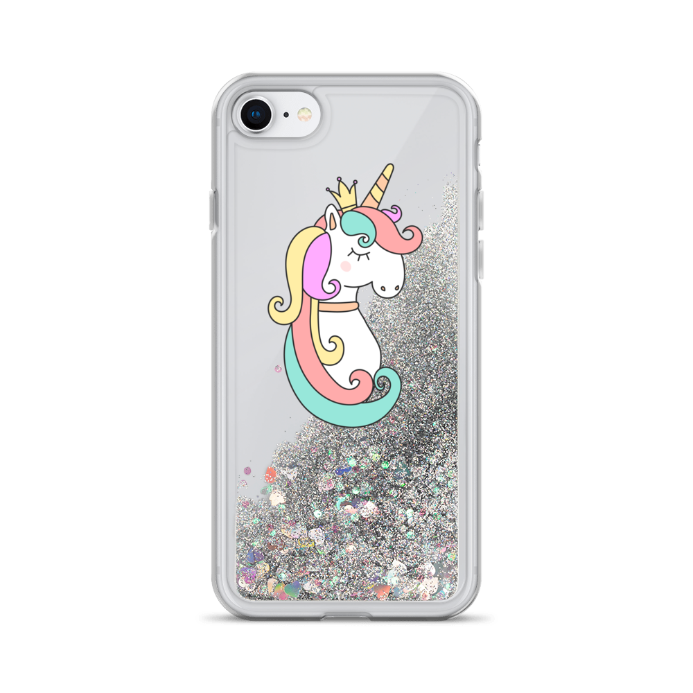 Silver Liquid Glitter iPhone Case Queen Unicorn