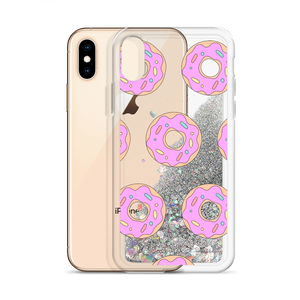 Silver Glitter Phone Case Pink Donuts