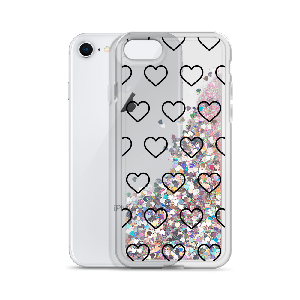 Pink Liquid Glitter Phone Case Outlined Hearts