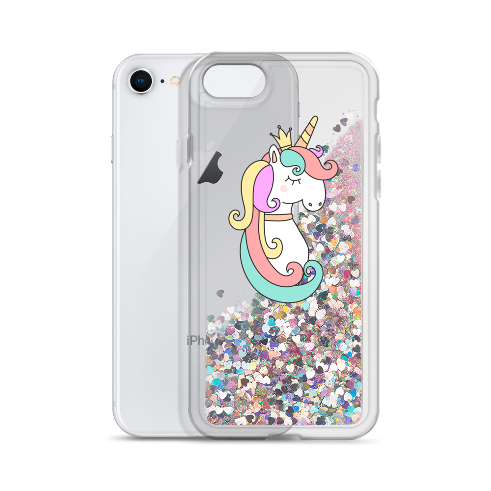 Pink Liquid Glitter Phone Case Queen Unicorn