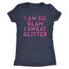 Tee I Am So Glam I Sweat Glitter in Vintage Navy Blue