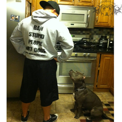 BAN STUPID PEOPLE NOT DOGS - PULLOVER HOODIE (GREY) - 7