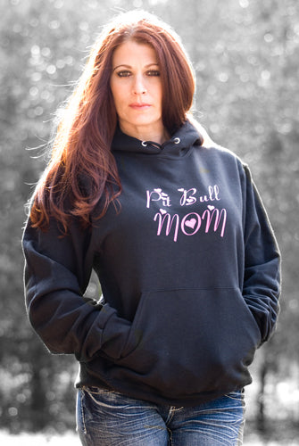 PIT BULL MOM - MIDWEIGHT PULLOVER HOODED FLEECE