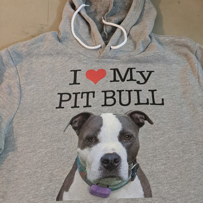 I LOVE MY PIT BULL - YOUR DOG - MIDWEIGHT PULLOVER HOODIE