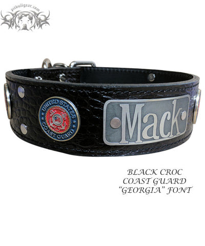 "W51 - 2"" Military Themed Name Plate Leather Collar"