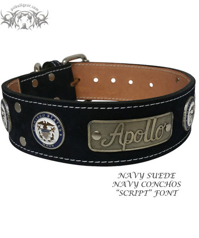 "W51 - 2"" Military Themed Name Plate Leather Collar - 2"