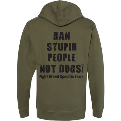 BAN STUPID PEOPLE NOT DOGS - MIDWEIGHT PULLOVER HOODED FLEECE