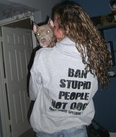 BAN STUPID PEOPLE NOT DOGS - PULLOVER HOODIE (GREY) - 3