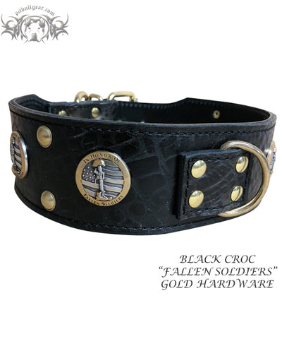 "J6 - 2 1/2"" Military Themed Studded Leather Dog Collar"