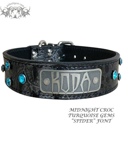 "N11 - 1 1/2"" Name Plate Leather Dog Collar w/Gems"
