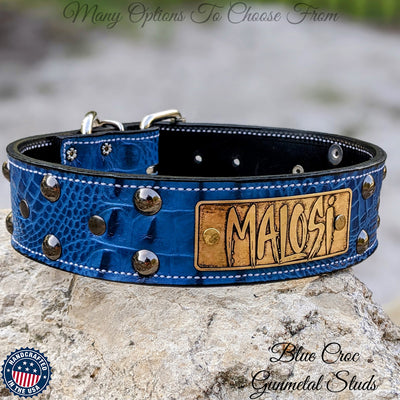 "N12 - 2"" Name Plate Studded Leather Dog Collar"