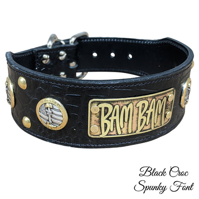"NJ6 - 2 1/2"" Military / First Responder Themed Name Plate Leather Collar"