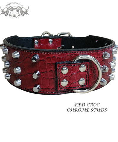 "X9 - 3"" Wide Bucket Studded Leather Collar"