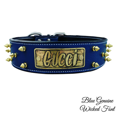 "W46 - 2"" Name Plate Spiked Leather Dog Collar"