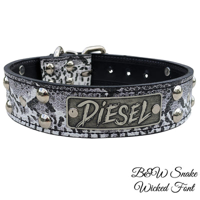 "N10 - 1 1/2"" Name Plate Studded Leather Dog Collar"