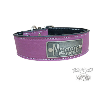 "N7 - 1 1/2"" Name Plate Leather Dog Collar"