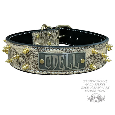 "N14 - 1 1/2"" Name Plate Spiked Leather Dog Collar"