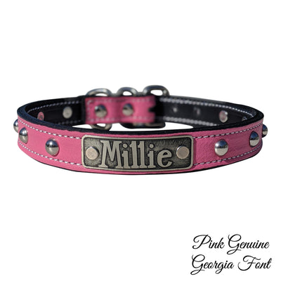 "NU2 - 1"" Name Plate Dome Studded Leather Collar"