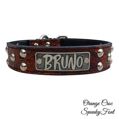 "N13 - 1 1/2"" Name Plate Dome Studded Leather Collar"