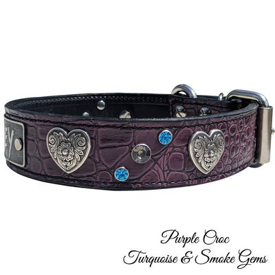 "VN2 - 1 1/2"" Personalized Diablo Hearts & Gems Leather Collar"