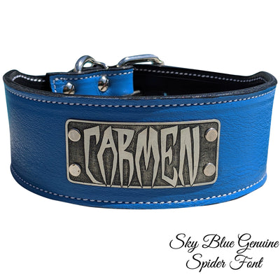 "NX5 - 3"" Name Plate Leather Dog Collar"